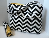 Monterey Diaper Bag Set - Black Chevron Or Custom Design Your Own - Large 9 Pockets