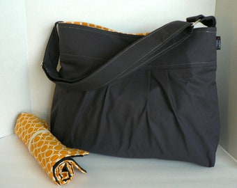Monterey Medium Diaper Bag Set - Charcoal and Circles in Marigold - Adjustable Strap and Elastic Pockets