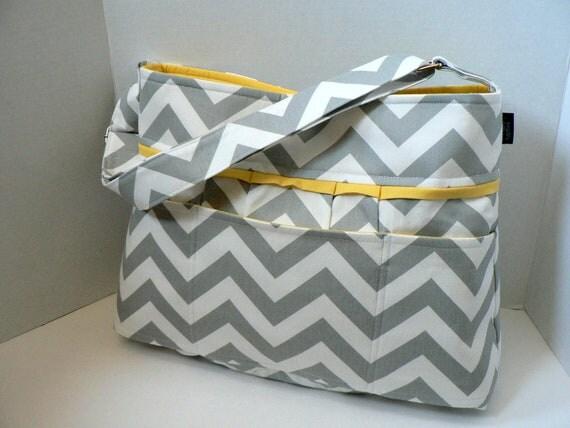 monterey diaper bag grey chevron or custom design your by bagenvy. Black Bedroom Furniture Sets. Home Design Ideas