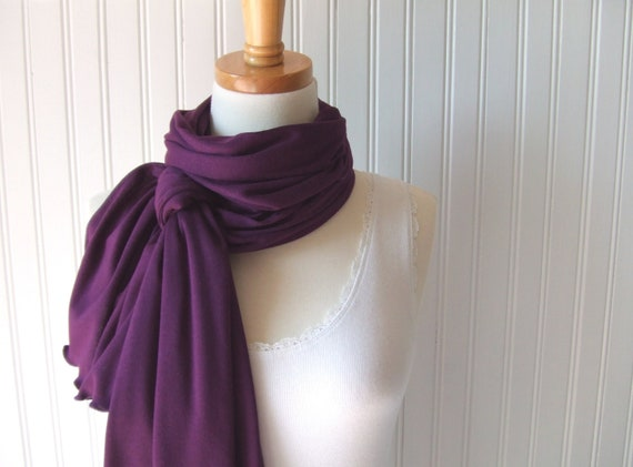 Blackberry Jersey Scarf - Dark Purple Eggplant Long Scarf Fall and Winter Fashion