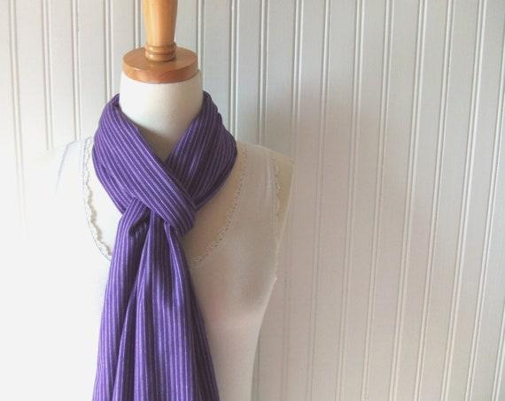 Purple Pin Stripe Cotton Scarf - Violet Purple Summer Fall and Winter Fashion