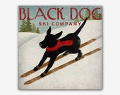 CUSTOM PERSONALIZED Black Dog (Yellow, Brown, and Red too) Ski Company Stretched Canvas Wall Art