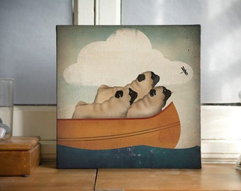 THREE PUG Canoe Ride Stretched Wrapped Canvas Wall Art -  Ready-to-Hang Canvas SIGNED