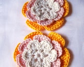 Flower crochet motif 2.5 inch cotton pink goldenrod