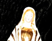 1800's French Victorian Virgin Mary Madonna Figurine Statue Ceramic Antique Old Vintage Heirloom Religious
