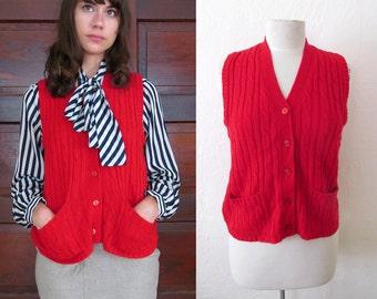 SALE//Vintage RED CABLED Pocket Vest Button up L