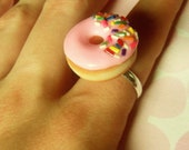 Polymer Clay Doughnut Ring Pink Frosted Strawberry with Rainbow Sprinkles Kawaii Statement Jewelry