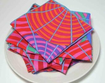 Cloth Dinner Napkins in Kaffe Pinwheels - set of 4