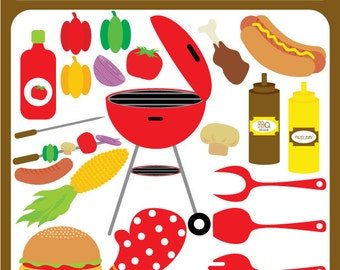 Barbecue BBQ Barbeque - outdoor, griller, veggies, meat, mustard, bbq sauce, corn, skewer, bbq party - Personal and Commercial Use Clip Art