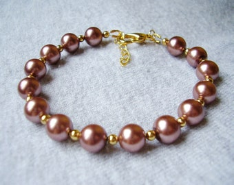 Chocolate Brown Glass Pearl Bracelet Gold Plate