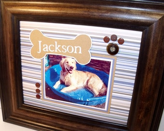 Personalized Dog Picture Frame - 8x10 Deluxe Frame Included -  Dog Bone Theme - 4x6 or 5x7 Vertical or Horizontal Photo - Other Colors