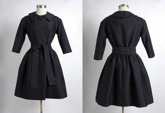 GALANOS 1950's Vintage Couture James Galanos Black Silk Wool Coat Dress 50's, Designer