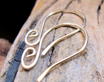 Gold Filled Ear wires - French Hook Swirl Earwires - 20 gauge Handcrafted Earrings Supplies - Gold Earrings - Artisan Ear Wires. Unique