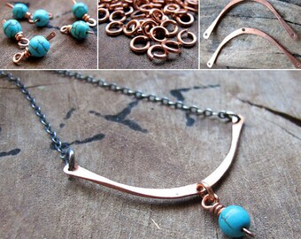 2 Pendant Necklace Kit - Artisan Jewelry Supplies - Curved spacer Bar, Turquoise Bead Dangle, Jump Rings