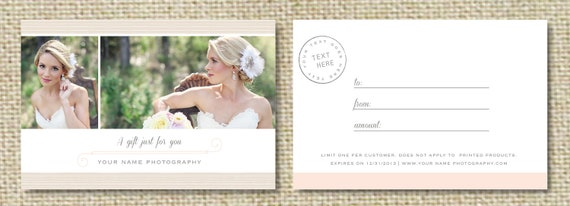 Sale Gift Card Template For Wedding Photographers