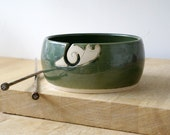 SALE - The happy snail yarn bowl, hand thrown and glazed in forest green
