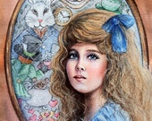 Original Painting - Alice's World - 8X10 Watercolor/Colored Pencil Alice In Wonderland