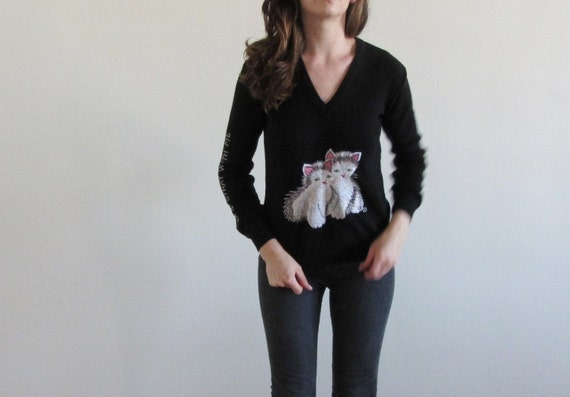1960 cat lady sweater . come stray with me . creepy kitsch kitty twins .medium .sale