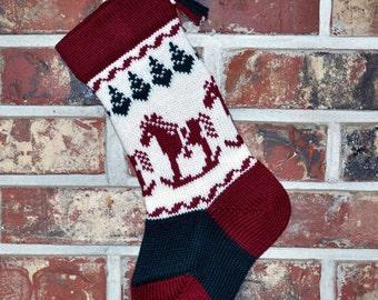 Small Knit Christmas Stocking, 100% Wool - Rocking Horse
