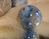 Polymer Clay Beads BLUE FLOWERS