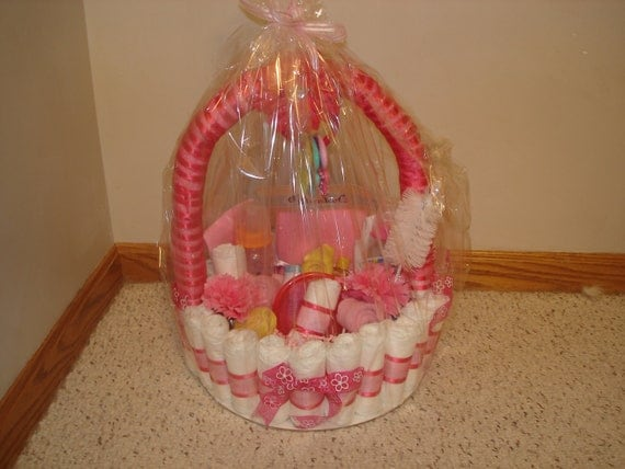 pink diaper basket