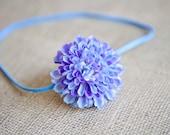Baby Flower Headband - Blue Mum Flower on Skinny Elastic Headband