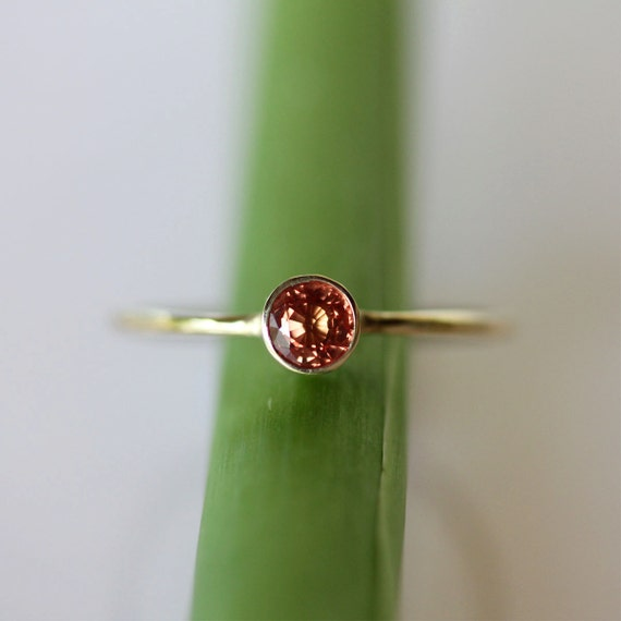 Orange Sapphire 14K Yellow Gold Ring, Stacking Ring, Gemstone Ring - Made To Order