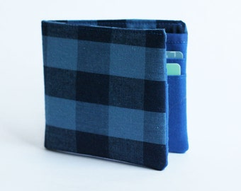 Mens wallet, Wallet, Billfold, Large Blue Plaid, Handmade by Knotted Nest