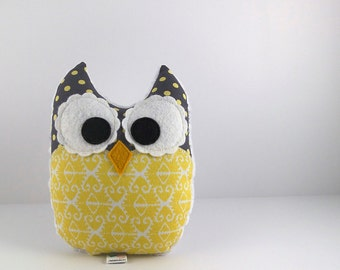 Plush Owl Mini Pillow Ikat Minky Softie Stuffed Toy Yellow Grey White Ready to Ship