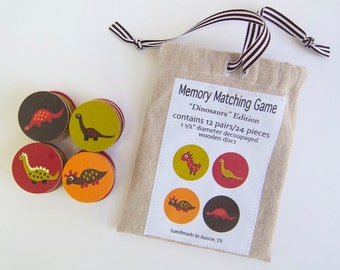 Wood Memory Game Dinosaurs Matching Game Wooden Play Set