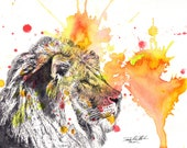 Portrait of a Lion Animal Art Print From Original Watercolor Painting 13 x 19 in Art Print Great Baby Nursery Wall Art