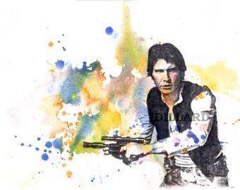 Han Solo Portrait Painting Star Wars Art Watercolor Painting - Original Watercolor Painting 8.5 X 11 in.