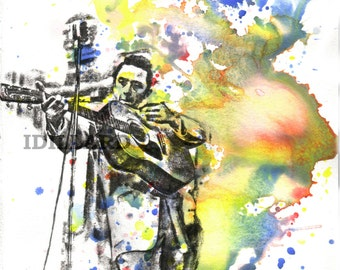 Johnny Cash Playing Guitar Art Print From Original Watercolor Painting - 8 x 10 in Art Print Music Poster Print