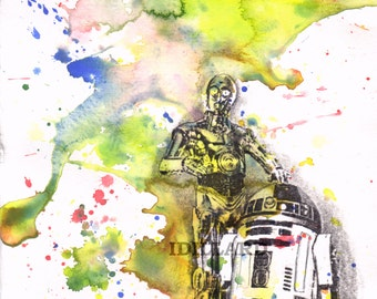 Star Wars Art Print R2D2 and C3P0 from original Watercolor Painting Star Wars Poster Print 13 x 19 in. Star Wars Print Star Wars Baby Decor
