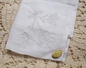 Vintage Linen White Embroidery on White Hanky - NOS