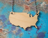 USA in Wood, Birch United States of America Necklace, Wood Necklace by Purple and Lime