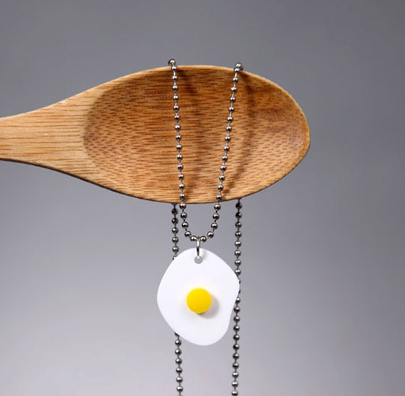 Small Egg Necklace, Acrylic Fake Food Necklace, Food Necklace, Lasercut Acrylic, Egg Jewelry