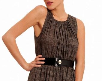 Black Leather Belt, Womens Leather Obi, Genuine Leather belt with rubber , wide waist belt, fashion belt