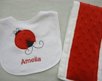 Personalized Lady Bug  bib and burp cloth set