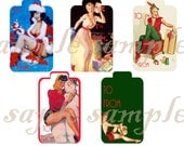 Pin Up Girls Printable Christmas Gift Tags Digital Collage Sheet 10 TAGS 2 Sheets