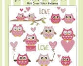 Hooties In Love  Mini Collection Cross Stitch PDF Chart