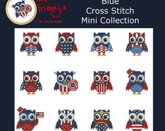 Hooties Red White and Blue Owls  Mini Collection Cross Stitch PDF Chart