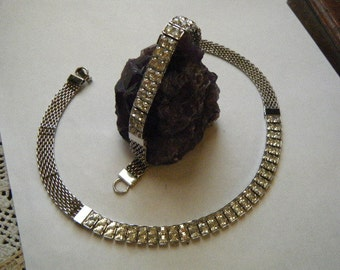Rhinestone Bling Necklace/Choker and Bracelet Simple Elegance