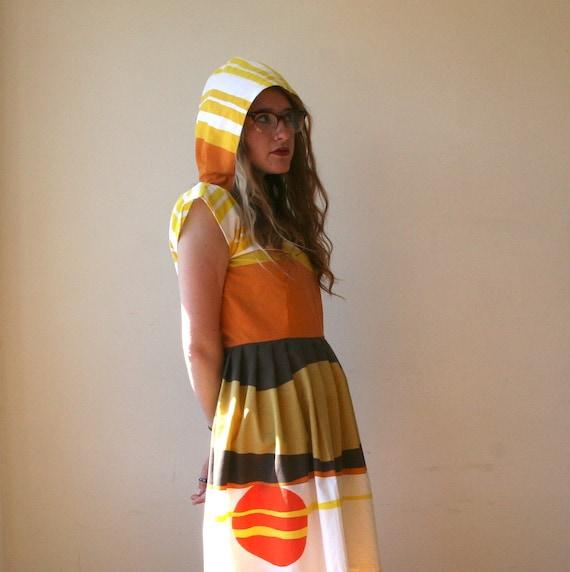 Hooded Geometric Color Block Dress Sz M
