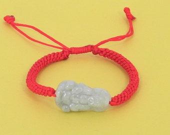 Lucky Kwan Yin Jade Red String Bracelet