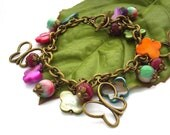 Butterfly charm bracelet beads shell toggle clasp