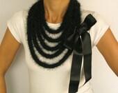 Black Long Scarf, Crochet Lariat Necklace, Winter Scarflette Satin Ribbon Knit Handmade