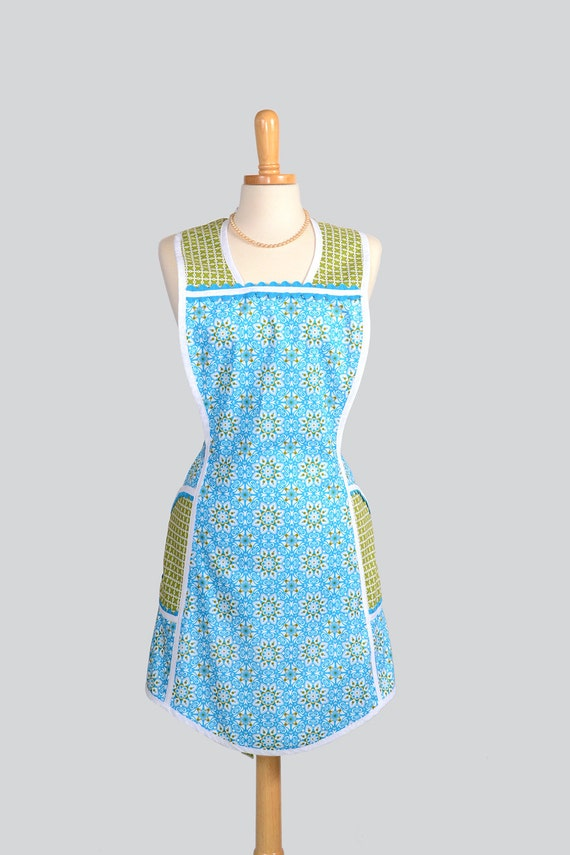 SALE Retro Full Kitchen Apron . Handmade Cute Womens Apron in Retro Vintage Teal Geometric Design and Michael Millers Kiwi Trim With Pockets