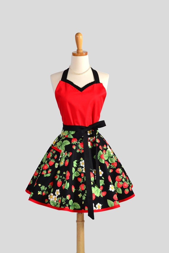 Sweetheart Retro Apron - Handmade Sexy Womens Apron in Wild Strawberries with Flirty Red Hot Bodice Cute Full Kitchen Apron