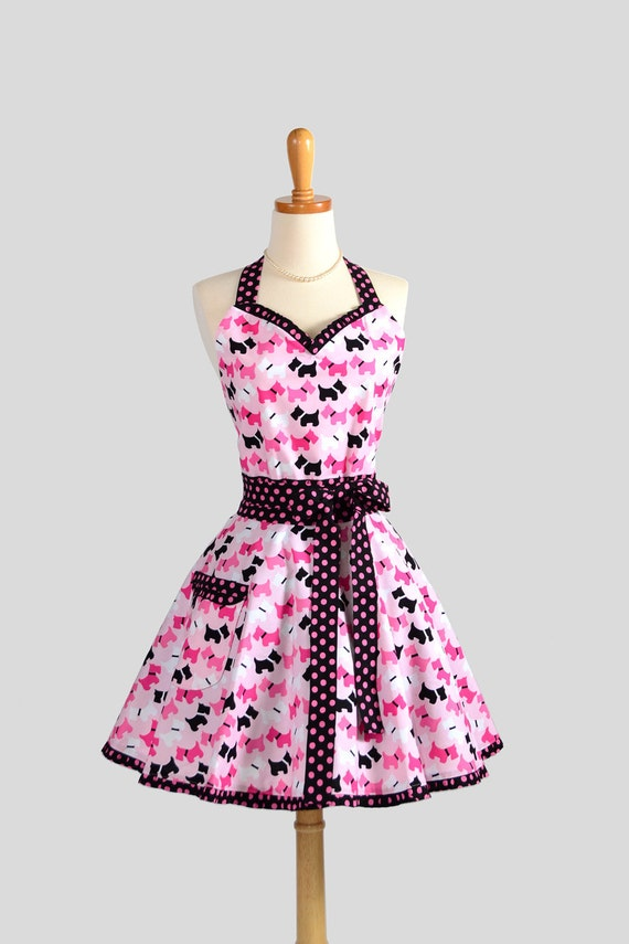Sweetheart Retro Apron . Sexy Kitchen Apron in Cute and Flirty Retro Ruffles in Hot Pink Scottie Dogs